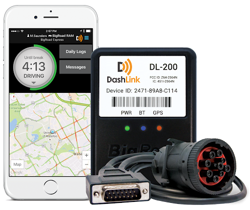 BigRoad DashLink electronic logging device (ELD) with iPhone running the BigRoad Mobile App